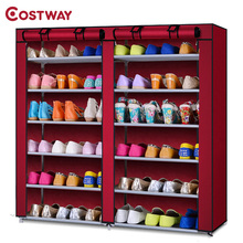 COSTWAY Non-woven Shoe Cabinets Double Row Shoes Rack Stand Shelf Shoes Organizer Living Room Bedroom Storage Furniture W0123(China)
