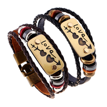 2Pcs / lot New lovers Bracelet Charm Double Heart Love Leather Bracelet Fashion Cheap Couple Jewelry For Men and Women(China)