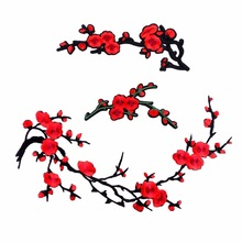 1 Piece Plum Blossom Flower Patches Iron on 3D Embroidered Patch Red Rose Applique Sew On DIY Repair Accessories Clothes Patches