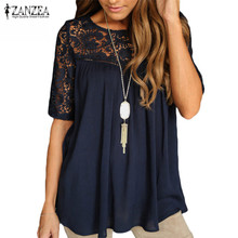 ZANZEA Women Blouses Shirts 2017 Lace Patchwork Elegant O Neck Short Sleeve Hollow Out Casual Loose Solid Blusas Tops Plus Size