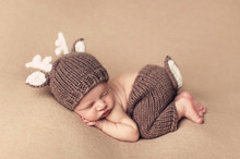 Baby Outfits Deer Newborn Photography Accessories Handmade Crochet Baby Beanie Hats and Pants for photo props baby photography(China)