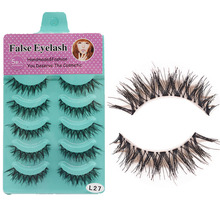 5 Pair Crisscross Fake Eyelashes Beauty Eye Makeup Ladies Natural Curl False Lashes Artificial Fiber Eyelash Extension Supplies(China)