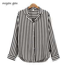 2018 New Spring Autumn Women Blouse Flower V-Neck Long Sleeve Work Shirts Women office Tops Striped blouse for business(China)