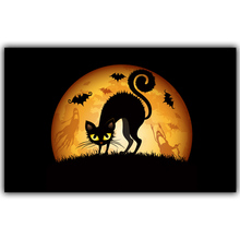 Halloween Poster Pumpkins, Black Cat, Witch's Broom Modern Cartoon Art Picture For Home Decoration Silk Poster and Prints QT056