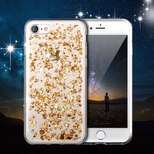 Luxury Bling Gold Glitter Transparent Case For iPhone 7 High Quality TPU Soft Clear Cover For iPhone 7 Plus Silicone Phone Cases(China)