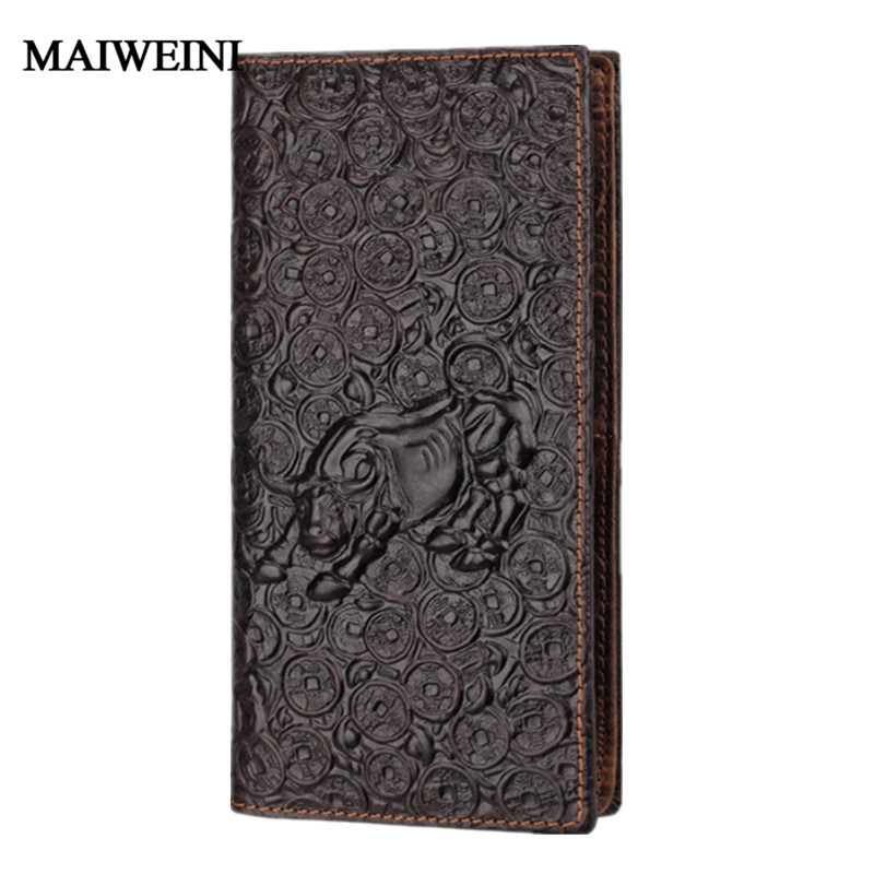 Brand Unique Design Bull pattern Genuine Leather Men Wallets by GMW006<br><br>Aliexpress
