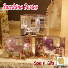 Model Kits DIY Miniature Dollhouse Wooden Cute Room SUNSHINE SERIES with Dust Cover Kids Toys Lover Girl Birthday Christmas Gift