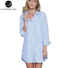 Lily Rosie Girl 2016 Autumn Casual Blue Striped Women Blouse Long Sleeve Ladies White Shirts Elegant Tops Femme Boyfriends Blusa