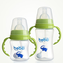 Baby Arc PP Temperature Sensing Feeding Bottle Wide Mouth with Handle Bobei Elephant 150ml/240ml Change Color Mark(China)
