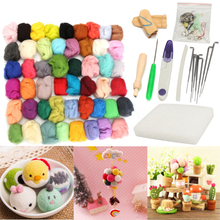50 Colors Soft Wool Felt + Felting Needle Tool Set Mat Starter Kit Craft For DIY Art Handwork Crafts Mayitr Home Sewing Tools(China)