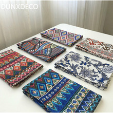 DUNXDECO Table Placemat Cotton Tablecloth Plate Pad Vintage Artistic Flora Colorful Mat Desk Accessories Home Decoration