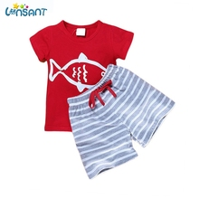 LONSANT Baby Boy Clothing Set 2017 Summer Boat Anchor Fish Striped Cotton Clothes Set T shirt Pant 2Pcs Baby Suits Dropshipping