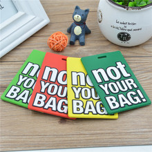 4*7cm Travel Luggage Label PVC Letter Luggage Tag 3 pcs/lot Silicone Square Suitcase Name Address ID Label Backpackl Baggage Tag