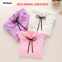 New Arrival Children's Bottoming Shirt Spring Girls Lace Tops Kids Fashion Cotton Long-sleeved Basic T-shirts White Purple Pink