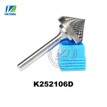 Tungsten carbide K cone 90 degree 25*21mm rotary burr file cutter grinding and abrasive tools K252106D 6mm shank milling tools