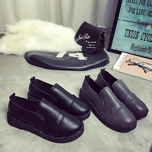 New fashion flat single shoes retro black female youth work ms British wind small leather shoes neutral shoes wet