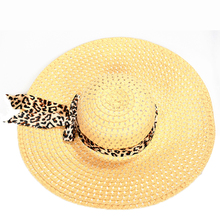 MAKE Hot NEW Summer Straw Hats Exquisite Leopard Ribbon Bowknot Decorated Openwork Sun Hat For Women(China)