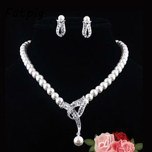 Imitation Pearls Silver Plated Crystal Choker Strand Necklace earrings Evening Party Wedding Jewelry Set Bridals