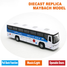19CM Diecast Metal Toy Bus Model, Metal Car, Kid Boys Vehicle Present With Pull Back Function/Music/Light/Openable Doors