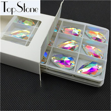 48pcs/box 17x28mm Glass Crystal Teardrop Sew On Rhinestones Shiny Crystal Clear AB Color Flatback Drop Sewing Jewelry Beads(China)