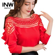 Buy 2018 New Chiffon Blouses Shirts Women Spring Ruffle Long Sleeve Ladies Tops Hollow Lace Patchwork Blusas Femininas for $9.66 in AliExpress store