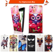 High quality fashion cartoon pattern flip up and down leather case for Highscreen Bay,Free gift