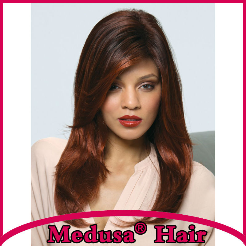Medusa hair products: Heat resistant Synthetic pastel wigs for women Long layered straight Mix color Mono wig with bangs SW0028B<br><br>Aliexpress