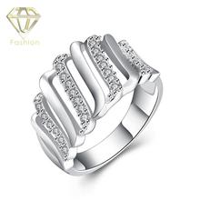 His and Hers Wedding Rings Top Quality Silver Plated Creative Hollow Gear Finger Ring with Cubic Zirconia Beautiful Jewelry