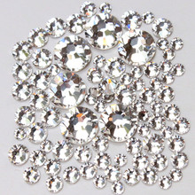 1pack Mix Sizes Glass Clear Crystal Non Hotfix Flatback Strass Rhinestones For Sewing Fabric Garment Nail Art Decoration Gems(China)