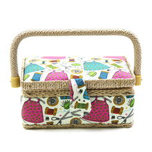 Novelty Sewing Pattern Sewing Storage Basket Wooden Jewelry Storage Box Portable Cosmetic Organizer Case Travel Bins