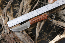 Beautiful Weave Hanlde Camping Knife Fixed Blade Full Tang Damascus Hunting Knife Survival Knives Fixed Blade