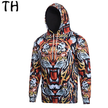 Spring Autumn Long Sleeve Unisex 3D Print Tiger Hoodies Women Men Casual Sweatshirts Pullovers #161679A
