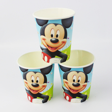Wholesale Boy Girl Baby Happy Birthday Party Decoration Kids Supplies Favors Mickey Mouse Theme Paper Cup Drink 12Pcs/lot(China)