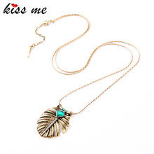 KISS ME Fashion Elegance OL Style Alloy Leaf  Inlay Imitation Emerald Long Pendant Necklace Factory Wholesale