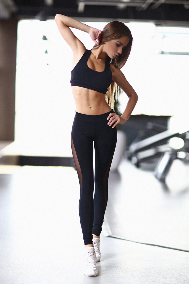 Black Net Yarn Patchwork Tracksuit Crop Top And Leggings 6