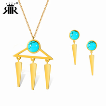 RIR brand 2017 New Multi Layer Women Necklace Gold Jewelry Set For Women Trendy 3 strip Necklace Stainless Steel Jewelry Set(China)