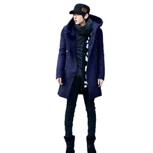 Men'S Wool Coats & Jackets Winter Cotton Warm Man Long Section Single Breasted Overcoat Hooded Casual Woolen Coat(China)