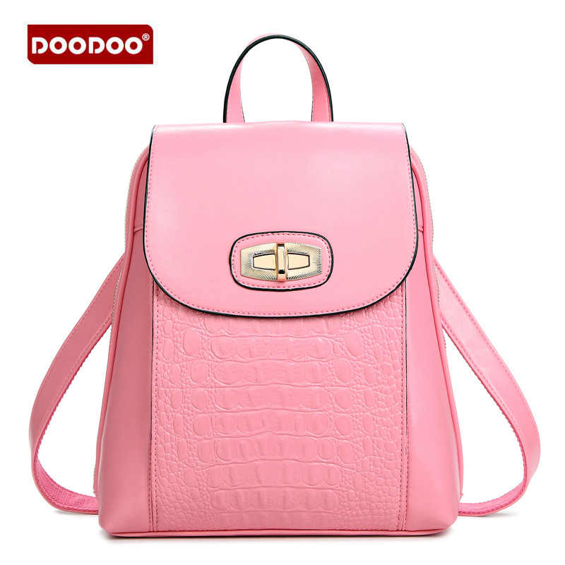 DOODOO Fashion Designer High Quality PU leather Backpack Shoulder bag Women backpacks girls Students Solid vintage School bags<br>