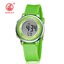 2016 OHSEN brand digital LCD kids girls fashion wristwatch cute pink Rubber strap 50M waterproof Child watches alarm hand clocks(China)
