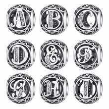 Authentic 925 Sterling Silver Vintage A to T, Clear CZ Letter Beads Fit Pandora Charm Bracelets Jewelry EDC008(China)