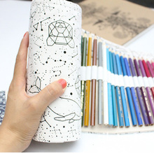36/48/72 Holes Big Pencil Case School Canvas Roll Pouch pecncil box Constellation Pencilcase Sketch Brush pen Pencil Bag Tools(China)
