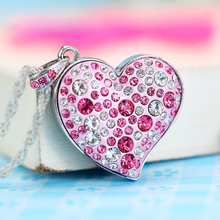 Garunk USB flash drive Diamond Crystal Heart pen drive 4G 8G 16G 32G 64GB pendrives Metal USB Flash Memory Drive U Disk Necklace