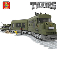 Model building kits compatible with lego City MILITARY TRAIN Rail 3D blocks Educational model building toys hobbies for children