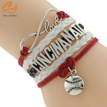 Cincinanatl tennis White Red Infinity Ball Charm DIY jewelry Cord Bracelet Fashion CUstom Name LOgo Wording Letter(China)