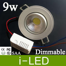 Cob 9W Led Recessed Downlight 110-240V Dimmable Warm/Pure/Cool White Led Ceiling Lights 120 Angle 550 Lumens CRI>85 + CE UL SAA(China)