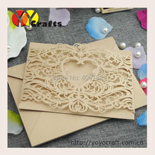 Pocket style heart design laser cut invitation cards models,invitation cards for family party--INC171
