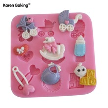 1PCS Baby Care Chocolate Candy Jello 3D Silicone Mold Soap Mould Cartoon Figure/Cake Tools C006(China)