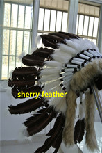 Free shipping dark brown Indian Feather headdress handmade war bonnet american costumes indian chief feather hat(China)
