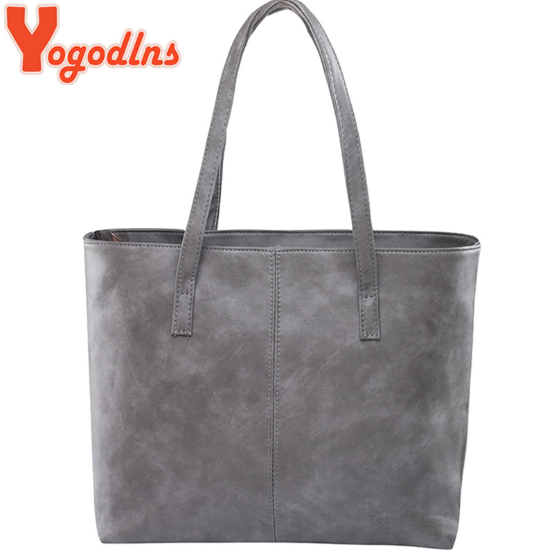 Yogodlns bag 2017 fashion women leather handbag brief shoulder bags gray /black large capacity luxury handbags tote bags design(China (Mainland))
