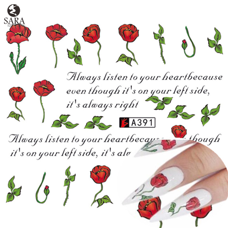 Sara Nail Salon 1pcs Red Rose/Letters Nail Art Tips Watermark Printing Decals Foils Sticker of Nail Art Manicure Tools A391<br><br>Aliexpress